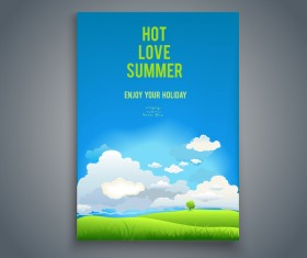 Summer holiday flyer and cover brochure template vector 04