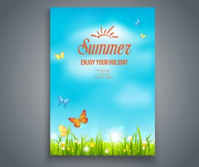 Summer holiday flyer and cover brochure template vector 06