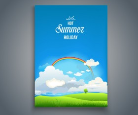Summer holiday flyer and cover brochure template vector 07