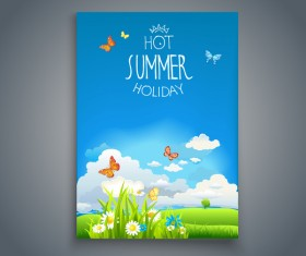 Summer holiday flyer and cover brochure template vector 08