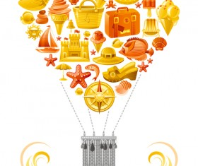 Summer travel elements with heart vectors 05
