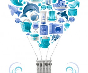 Summer travel elements with heart vectors 08