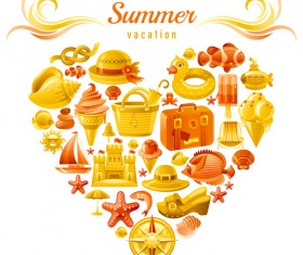 Summer travel elements with heart vectors 10