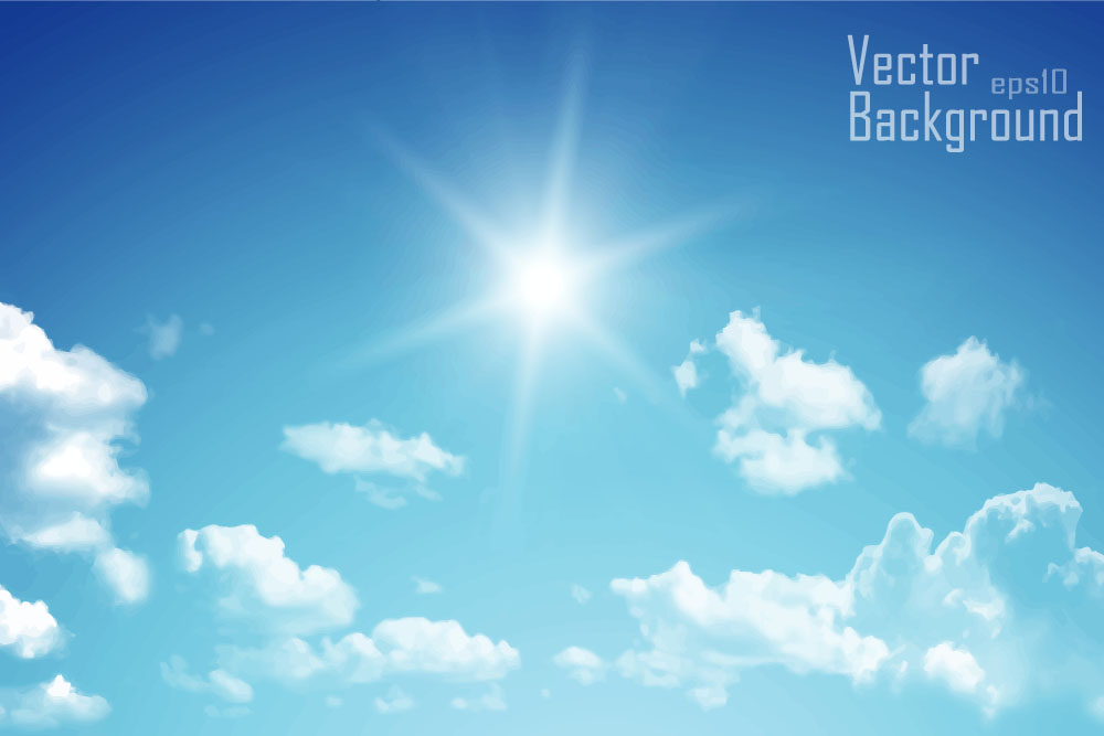 Sunny sky and white clouds vector backgrounds 01 free download