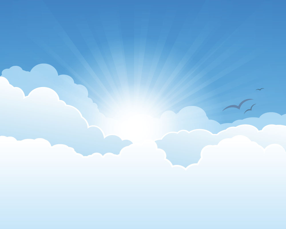 Sunny Sky And White Clouds Vector Backgrounds 02 Vector