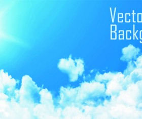 Sunny sky and white clouds vector backgrounds 03