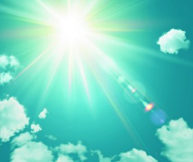 Sunny sky and white clouds vector backgrounds 04