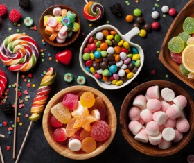 Sweets on a black background Stock Photo 04