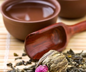 Tea cups and tea utensils Stock Photo