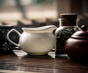 Teapots and tea sets Stock Photo