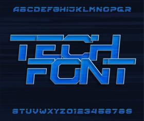 Tech font alphabet vectors