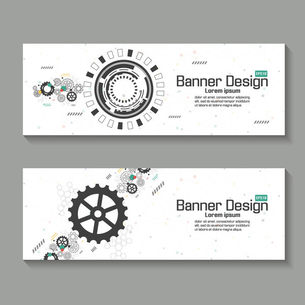 technology banner vector template with gear vector banner free download. Black Bedroom Furniture Sets. Home Design Ideas