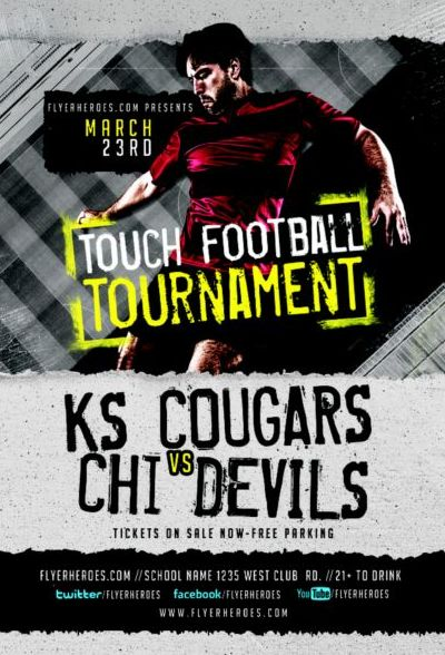 Touch Football Tournament Flyer Psd Template