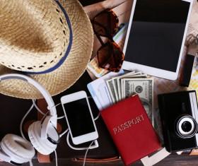 Travel essential equipment Stock Photo