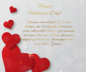 Valentine day cards for you text with red heart vectors template