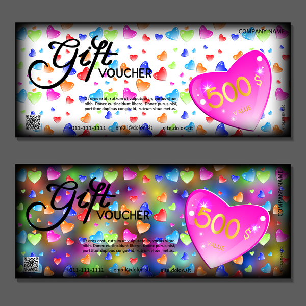 Valentine Day Gift Vouchers Template Vector 02 Free Download