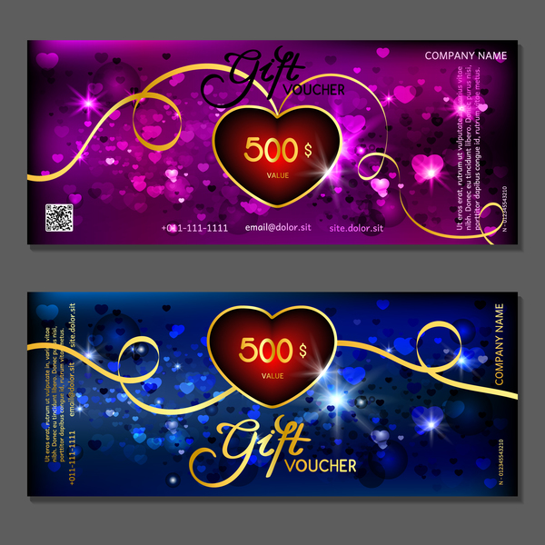 Valentine Day Gift Vouchers Template Vector 05 Free Download