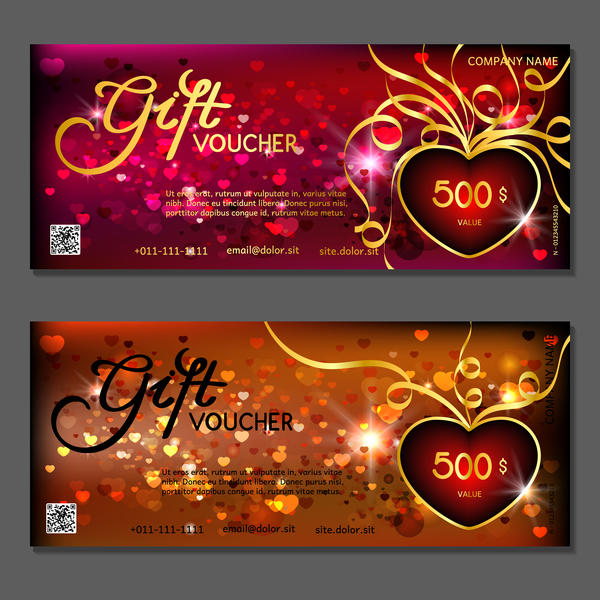 Valentine Day Gift Vouchers Template Vector 06 Free Download