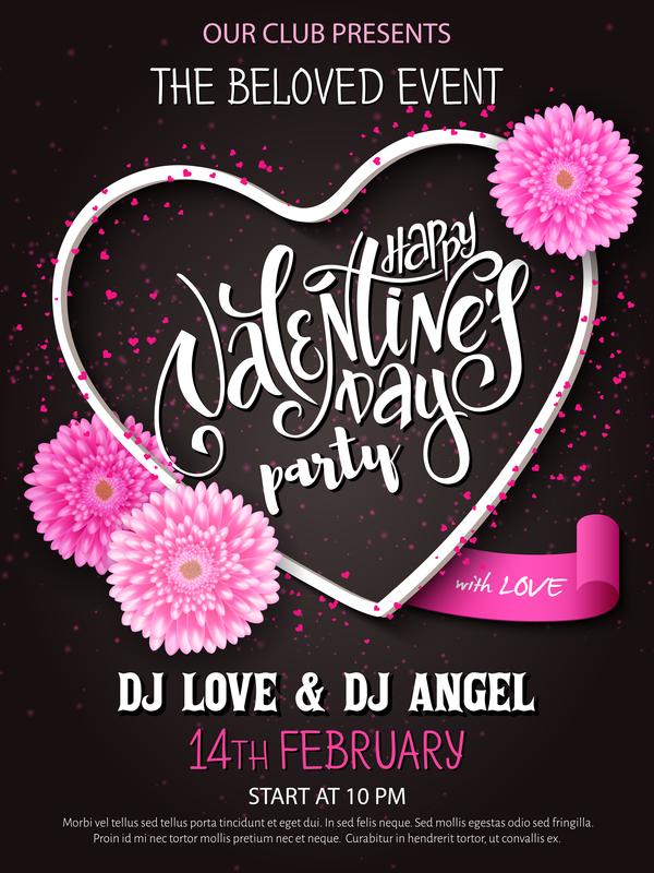 Valentine day heart cards with dark background vector 01 Vector – Dark Valentines Day Cards