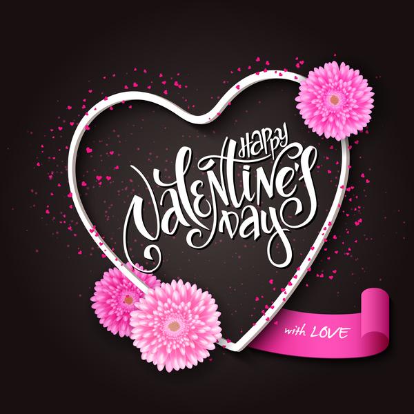 Valentine day heart cards with dark background vector 08 Vector – Dark Valentines Day Cards