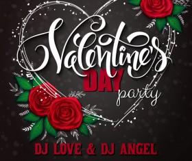 Valentine day heart cards with dark background vector 09