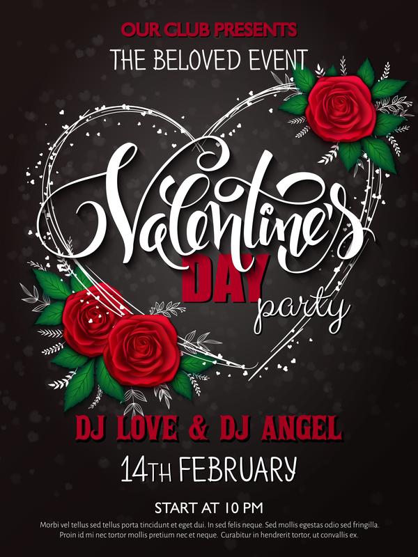Valentine day heart cards with dark background vector 09 Vector – Dark Valentines Day Cards