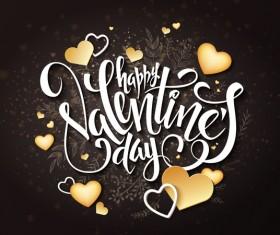 Valentine day heart cards with dark background vector 10