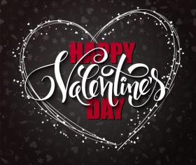 Valentine day heart cards with dark background vector 11