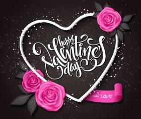 Valentine day heart cards with dark background vector 12