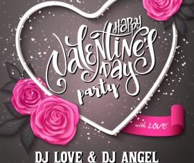 Valentine day heart cards with dark background vector 13