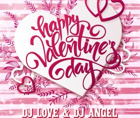 Valentine day party poster pink vector
