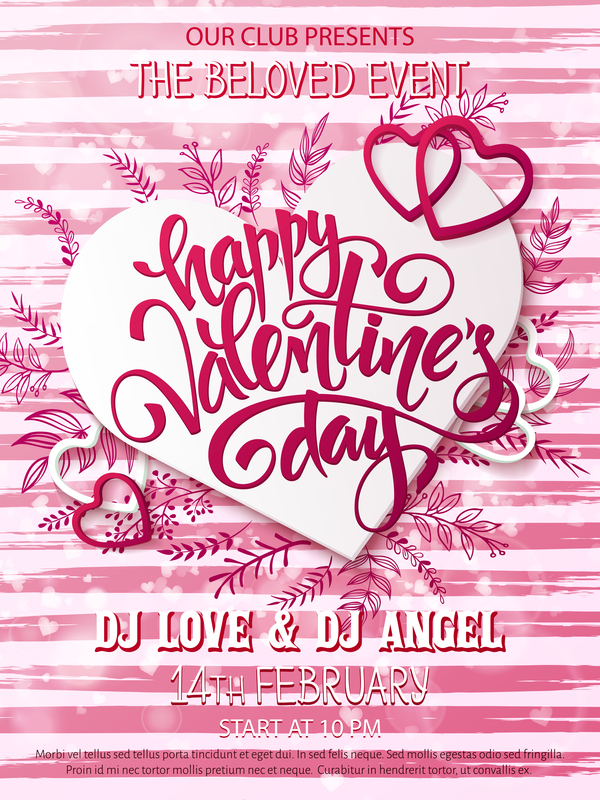 Valentine Day Party Poster Pink Vector Free Download