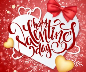 Valentine day red background with romantic heart vector