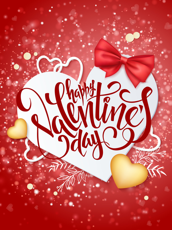 Valentine day red background with romantic heart vector - Vector ...