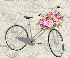 Vintage background with bicycle and flower vector 01
