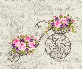 Vintage background with bicycle and flower vector 02