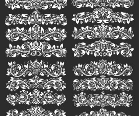 Vintage floral borders ornaments vectors 01