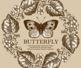 Vintage frame with butterfly greeting card vector 04