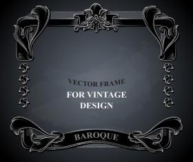 Vintege vector frame with black background vector 03