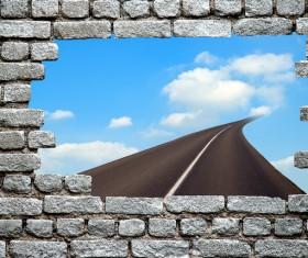 Wall holes to freedom Stock Photo 01