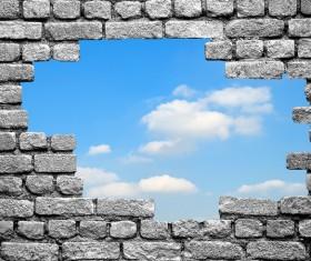 Wall holes to freedom Stock Photo 02
