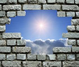 Wall holes to freedom Stock Photo 06