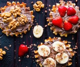 Walnut waffle with strawberry waffles Stock Photo