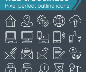 Web and Business outline icons set