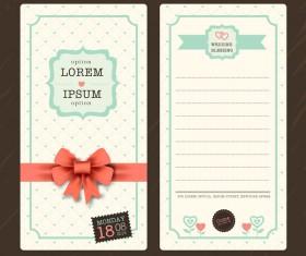 Wedding invitation template vintage styles vector 03