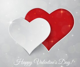 White Valentine day background with heart paper cutting vector
