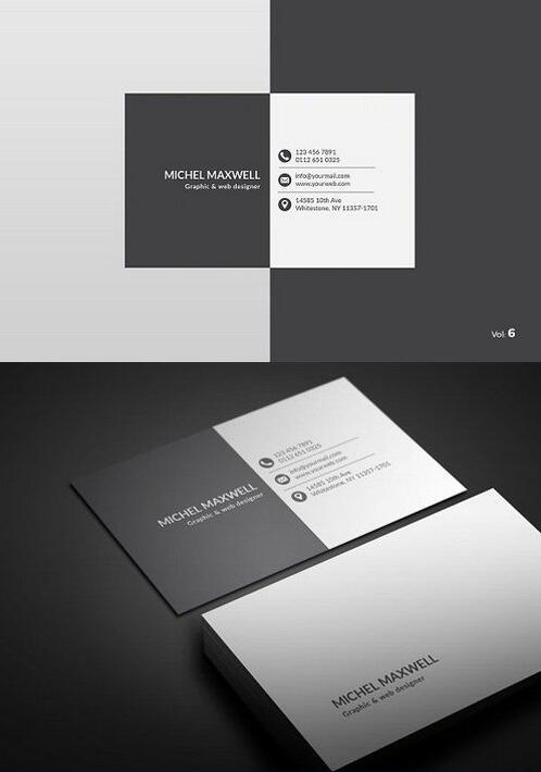 White and Black Business Card PSD Template