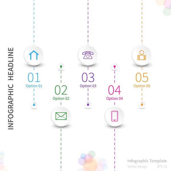White infographic template with circle vectors design 02