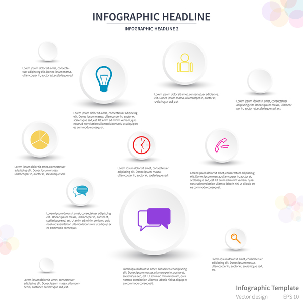 White infographic template with circle vectors design 03