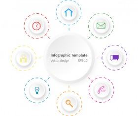 White infographic template with circle vectors design 05